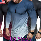Fashion Men Casual Fit Gradient Color Long Sleeve Muscle Tops Blouse T Shirt Tee image