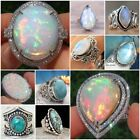 Trendy 925 Silver Ring White Fire Opal Moon Stone Wedding Engegement Size 6-10