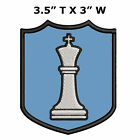 """White King Chess Piece 3.5"""" Embroidered Iron or Sew-on Patch Classic Souvenir"""