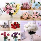 10 Heads Silk Rose Artificial Flowers Bunch Bouquet Wedding Home Party Decor Uk
