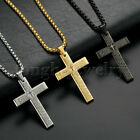 Kyпить Men Gold Stainless Steel Christ Jesus Bible Cross Pendant Necklace Chain 24