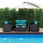 5/6pc Outdoor Patio Rattan Wicker Furniture Set Table Sofa Cushioned Garden Deck