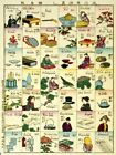 Melange Of English Words Vintage Jaapanese Woodcut Wall Print POSTER AU