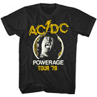 ACDC Powerage Tour 1978 Men's T Shirt Angus Young Metal Rock Band Concert Tour image