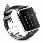 For New Apple Watch Series 5 44mm Genuine Leather Band Replacement Strap Buckle image