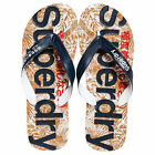 Superdry NEW Men's Printed Cork Flip Flops Navy Red Cork BNWT