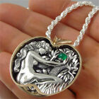 Fashion 925 Silver Emerald Apple Women Pendant Choker Necklace Chain Wedding