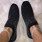 Womens Glitter Knitted Sneakers Ladies Sparkle Slip On Trainers Sock Shoes Size