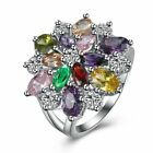 Womens Platinum Plated Elegant Colorful AAA CZ Engagement Wedding Ring #DR226 image