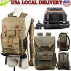 Vintage Camera Photography Backpack Waterproof Leather Canvas Bag Large Space AA