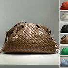 Small Large Ruched Woven Real Leather Clutch Pouch Shoulder Bag Crossbody Purse