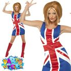 Ladies Ginger Spice Girls Costume 90s Union Jack Fancy Dress Womens Outfit