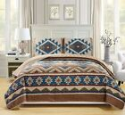 BEAUTIFUL COZY BLUE BROWN GREEN TAN SOUTHWEST LOG CABIN LODGE COUNTRY QUILT SET image