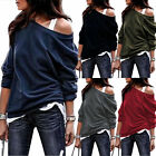 Womens Off The Shoulder Jumper Loose Slouch Tops Oversized Blouse Baggy Sweater