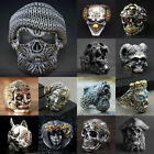 Cool Mens Stainless Steel Alloy Gothic Skull Rings Head Boy Biker Finger Jewelry