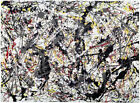 Jackson Pollock Silver over Black, White, Yellow&Red HD Print Wall Poster 22x29""