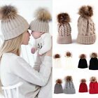 2Pcs Mother Baby Winter Warm Knitting Pom Bobble Hat Beanie Knitted Matching Cap