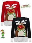 New Women Unisex XMAS 3D Rudolph Nose Ladies Jumper With LED Flashing Lights Top