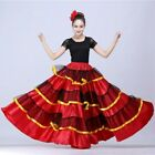 Ladies Layered Ruffle Dance Skirt Swing Spanish Flamenco Ballroom Costume Modern