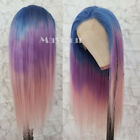 FASHION Ombre Rainbow Brazilian Virgin Hair Straight Lace Front/Full Lace Wigs