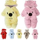 Newborn Baby Girl Boy Winter Warm Clothes Bear Velvet Hooded Jumpsuit Romper