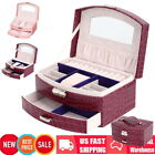 Multiple Layer 10 Ring Tier PU Leather Jewelry Watch Ring Storage Box Case w/Key image