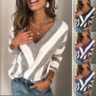 Women Autumn V Neck Long Sleeve Sweater Loose Knit Pullover Sexy Jumper Tops