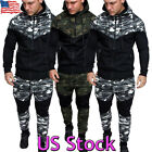 Men's Camouflage Tracksuit Set Hoodies Zip Jacket Coat Sweatpants Jogging Suits
