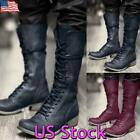Men Vintage Knee High Motorcycle Boots Steampunk Lace Up Biker Riding Booties US