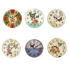 Flower Print Wall Hanging Retro Wall Clock European Style Round For Home Rustic