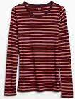 NWT Womens GAP Long Sleeve Crewneck T-Shirt FAVORITE Tee Plum Purple Striped *F7