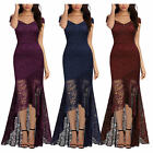 Women Off shoulder High Low Floral Lace Evening Prom Dress Formal Long Maxi Gown