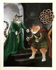 "CAT Art Print Ready to Frame Bookplate 7.5"" x 9"" SHAKESPEARE CATS IN COSTUME"