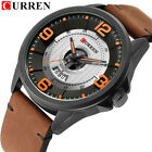 CURREN Men Quartz Watch Casual Leather Strap Wristwatch Calendar Male Watches image