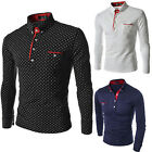 Fashion Men's Long Sleeve Polo Shirts Casual Slim Tee Shirt Tops T Shirts Blouse image