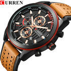 CURREN Men Quartz Watches Leather Chronograph Male Brand Wristwatch for Business image