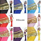 USA Woman Belly Dance Costume Velvet Hip Scarf with Gold Coins 7 Color choices