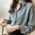 Korean Women V Neck Buttons Solid Chiffon Shirt Loose Casual Slim Top Blouse VGD