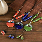 Women Ceramics Beads Pendant Ethnic Necklace Chain Blue/red Fashion