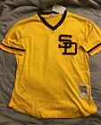San Diego Padres Tony Gwynn 19 mesh pullover BP jersey Mens L 2XL Gold Brown