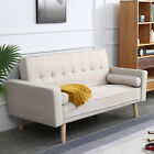 Modern Luxury Sofa Bed Padded Couch PU Leather Fabric Black Grey Home Furniture