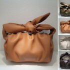 Ruched Real Leather Knotted Bow Tie Handle Shoulder Pouch Tote Bag Clutch Purse