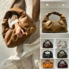 Real Leather Shoulder Pouch Tote Bag Ruched  Clutch Purse Vintage Evening Party