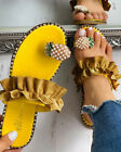 Womens Ruffle Toe Ring Slippers Backless Slip On Flat Sandals Holiday Shoes Size