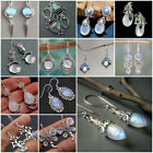 Vintage 925 Silver Moonstone Earrings Dangle Drop Ear Hook Women Jewelry Gift image