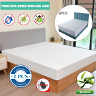 2X Bamboo Cotton Waterproof Mattress Cover Protector 3 sizes Hypoallergenic NEW image