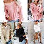 Women Waffle Knitted Sweater Pullover Sexy V-Neck Off Shoulder Loose Top Tunic
