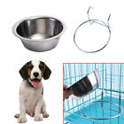 Stainless Steel Pet Bowl S/M/L Crate Cage Food Hang-on Cat Water Dog Metal