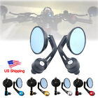 7 8 22mm Motorcycle Handlebar End Mirrors Rearview Universal For Cafe Racer US