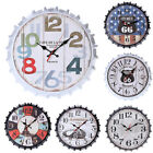 Wall Clock Iron Indoor Vintage Bottle Cap Mute Gift Decorative Pointer Hanging